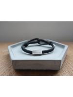 純銀筒鍍白金刻字款配黑色彈性手繩