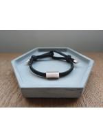 純銀筒鍍玫瑰金刻字款配黑色彈性手繩