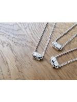 簡約純銀幼珠子x圈扣鏈 配 0.03ct 鑽石 (自選1字母)