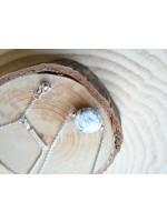 圓形雲石紋陶瓷珠 配純銀珠子鍊x鍊扣鍊項鏈