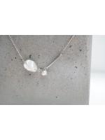 9mm白色變形天然珍珠純銀2ways頸鍊