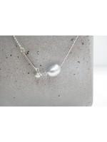 9mm灰色變形天然珍珠純銀2ways頸鍊